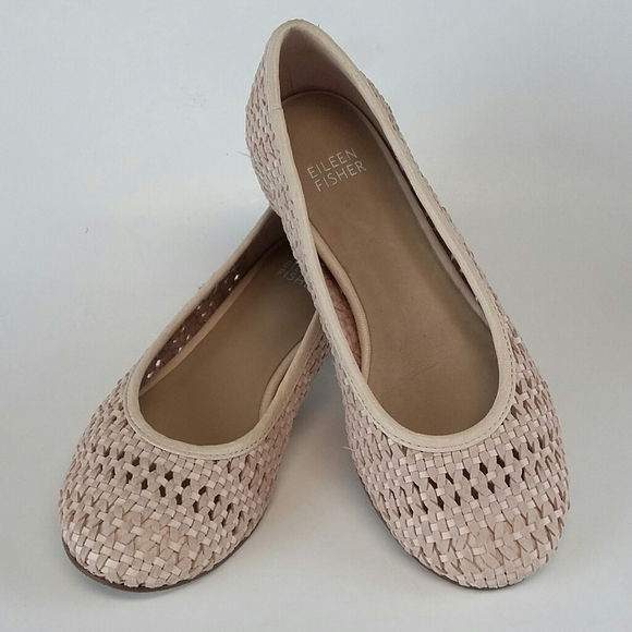 Eileen Fisher Woven Leather Blush Vero Cuoio Flats
